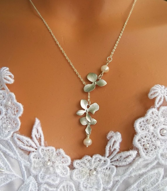 Triple Orchids Necklace Lariat White Gold And Freshwater Pearls Wedding Bride Bridesmaid Gift Wedding Jewrley Bridesmaids Necklace