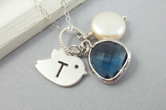 Personalized Bird Necklace Blue Sapphire Pendant Charm Hand Stamped Necklace Freshwater Pearl Custom Initial Sterling Silver Chain