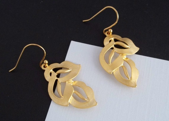 Three Leaves Earrings, Gold, Gold Filled Ear Wires