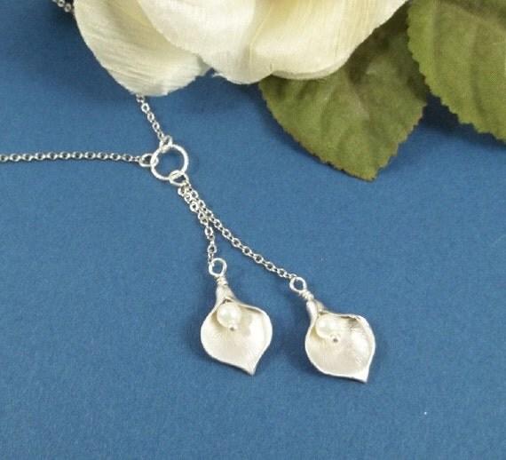 White Gold Calla Lily Necklace