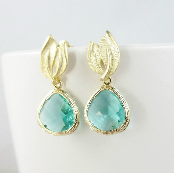 Aqua Green Leaf Earrings, Gold Earrings, Wedding Jewelry, Bridesmaid Gifts