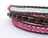 brown leather, coconut, glass & quartz bead wrap bracelet