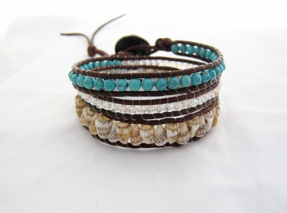 brown leather, turquoise howlite stone, glass crystal, and shell wrap bracelet
