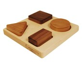 Baby's First Wood Basic Shapes Puzzle, organic eco friendly developmental toy for babies and toddlers