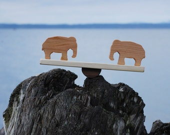 Natural Wood Animal Toy Seesaw // Fun Wooden Balancing Baby Toddler Toy // Pick Your Pair: Elephant, Giraffe, Bear, Lion, Hippo, Bunny