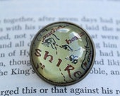 Lord of the Rings Shire Map Glass and Antiqued Brass Brooch Pin