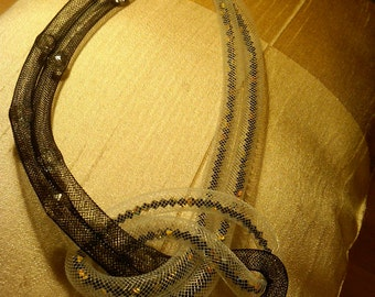 "20"" Black and White Plastic mesh tube necklace with crystal beads and swarovski crystals"