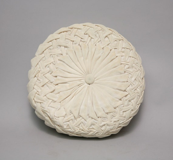 Throw Pillow Round : White Pintuck Round Throw Pillow Corduroy by VertigoVintageUSA