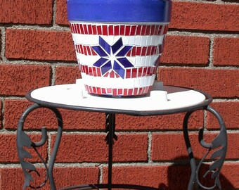Patriotic stained glass mosaic flower pot