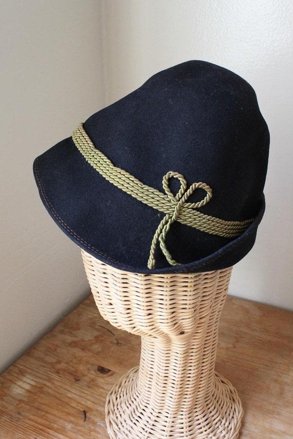 1950s Black Wool Felt Tyrolean / Bavarian / Alpine hat . Original Ischler Hut
