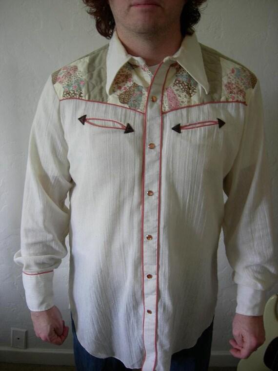 Patchwork Cowboy - 1970's Men's H Bar C California Ranchwear Muslin and Patchwork Western Shirt - Size X Large