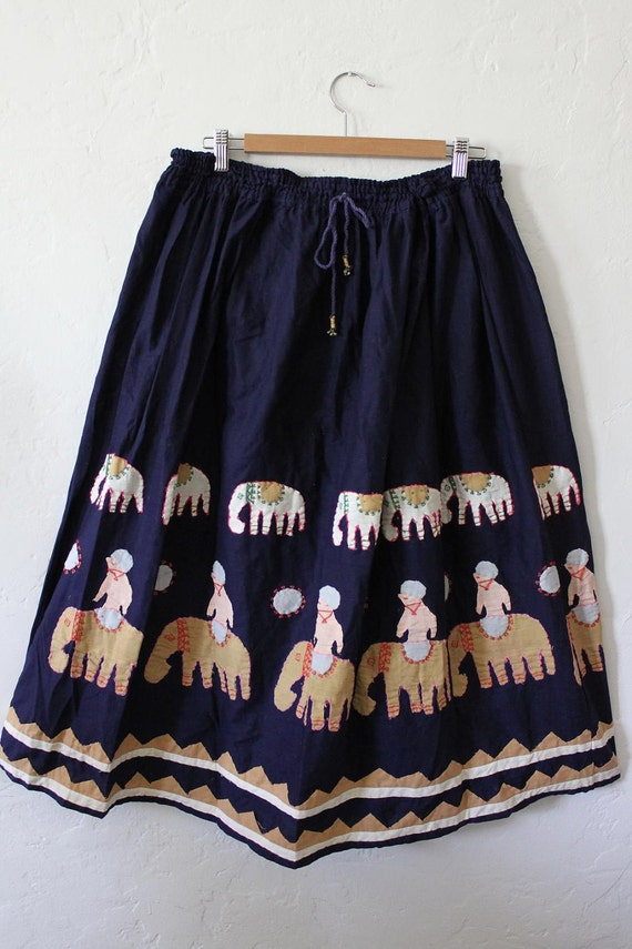 Elephants on Parade - Cotton and Patchwork Ethnic Skirt.