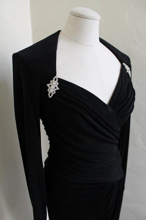 Film Noir bombshell Dress - 1940's style Ruched Crepe Evening Dress with Rhinestone Brooches by Lillie Rubin