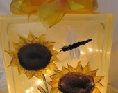Handpainted sunflower lighted glass block