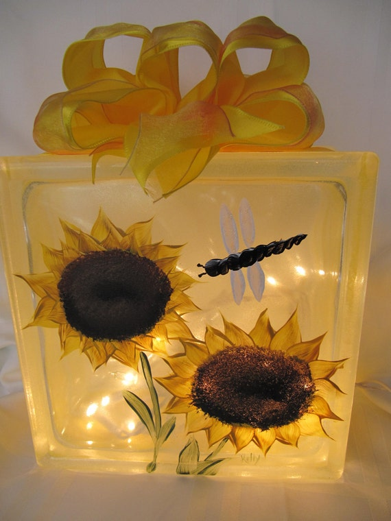 Handpainted Sunflower Lighted Glass Block