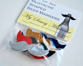 Mustache Shaped Beer Markers - Six Pack (Holiday Colors)