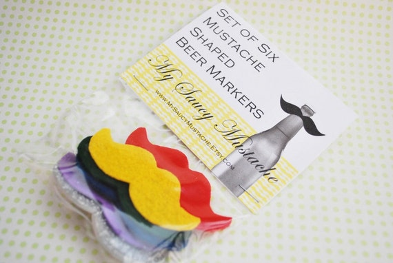 Mustache Shaped Beer Markers - Six Pack (Rainbow Sparkle)