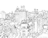 NYC East Village architectural drawing, economy poster