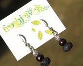 Lava, Pearls  & Filigree Beads ... Froshjewels original earrings