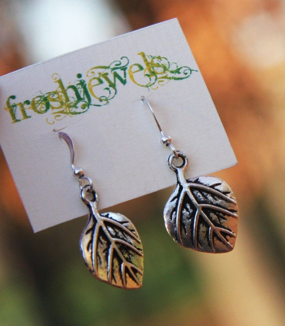 Leaf Earrings, Autumn colours, Leaves, Silver Leav Earrings, Simple Leaf Earrings