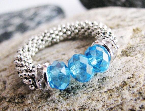 Silver Aquamarine Ring with Swarovski crystals, Blue Aqua, elegant, Stretch Ring, Aquamarine Blue Cocktail Ring, March Birthstone