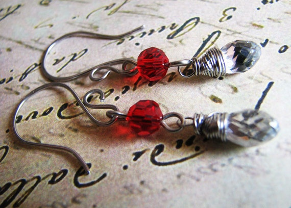 In Red and White ... Quartz Wire Wrapped Czech Glass Faceted Teardrops and Beads & Hypoallergenic hammered surgical steel.