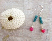 Deep Teal & Hot Pink Jade Earrings in Sterling Silver - Cotton Candy Beach -  Aqua Apatite, Pink Jade, Sterling Silver