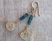 Teal Apatite & Gold Rutilated Quartz Crystal Earrings on 14 K Gold Fill