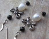 Onyx Bow Earrings -black onyx, Pearls, Sterling Silver