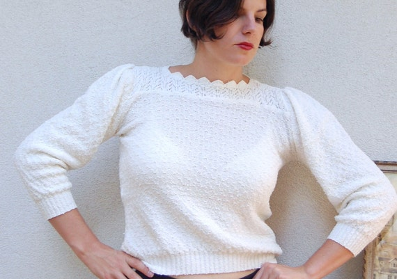 Vtg NUBBY Pointelle White Cropped Sweater Blouse Scalloped Neck M