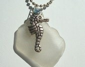 Florida Sea Glass, Seahorse, Swarovski Crystal Charm Necklace