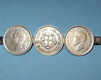 1941 British Silver Coin Brooch Threepence