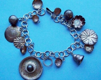 Mexican Sterling Silver Charm Bracelet Vintage 1950s 1960s
