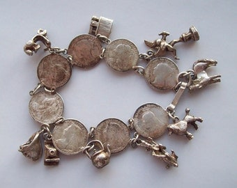 Victorian Threepence English Coin Charm Bracelet 1920s Sterling Silver