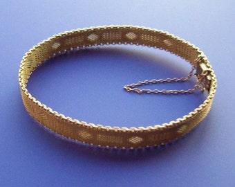 9kt Victorian Gold Bracelet Woven Mesh Style by Bek of Germany
