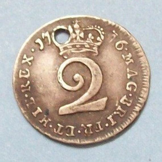 1776 George III Twopence British Coin Sterling Silver