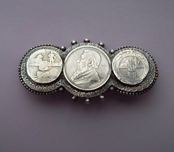 Boer War Patriotic Silver Coin Brooch 1890s 1900s Victorian Edwarian