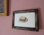 """Delicious Grilled Cheese Sandwich Original 4x6"""" Illustration"""