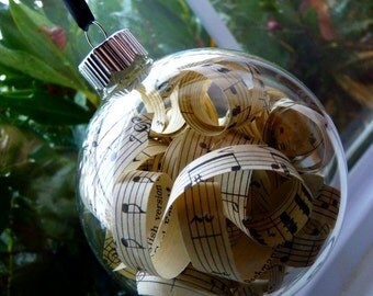 Vintage Sheet Music Christmas Ornaments-Glass Accent Balls-Ready to Ship