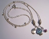 Long on Style Crystal, Flourite, Pearl, Sterling Necklace and Earrings