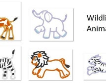 Zebra, Giraffe, Elephant, Tiger and Lion  - machine embroidery easy applique designs - for hoop 4x4, 5x7 and 6x10
