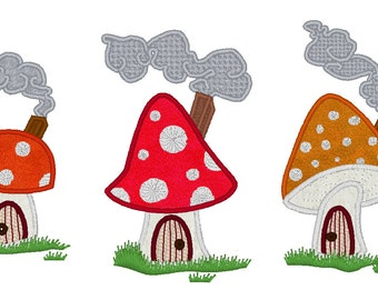 Gnome summer houses - machine embroidery applique and fill stitch designs - multiple sizes INSTANT DOWNLOAD 4x4, 5x7