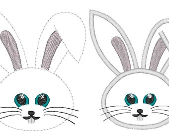 Cute Bunny machine embroidery applique designs, 2 types an outline  INSTANT DOWNLOAD