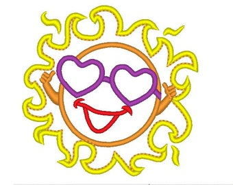 Summer Sun - machine embroidery applique designs INSTANT DOWNLOAD - 4x4, 5x7 and 6x10