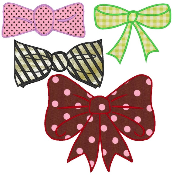 Bow and Tie, set of 4, machine embroidery applique designs, instant download - for 4x4 and 5x7