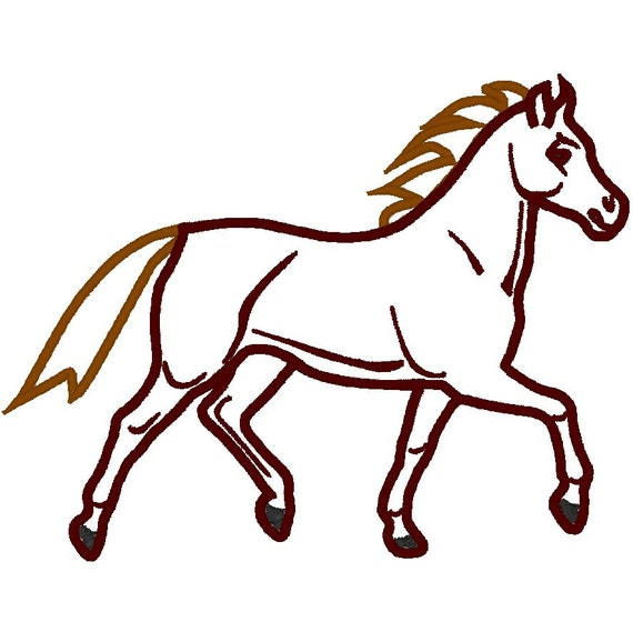 Running horse machine embroidery applique design instant