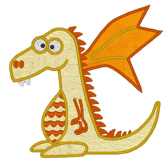 Dragon - machine embroidery fill stitch and applique designs INSTANT DOWNLOAD  multiple sizes for hoop 4x4, 5x7 and 6x10