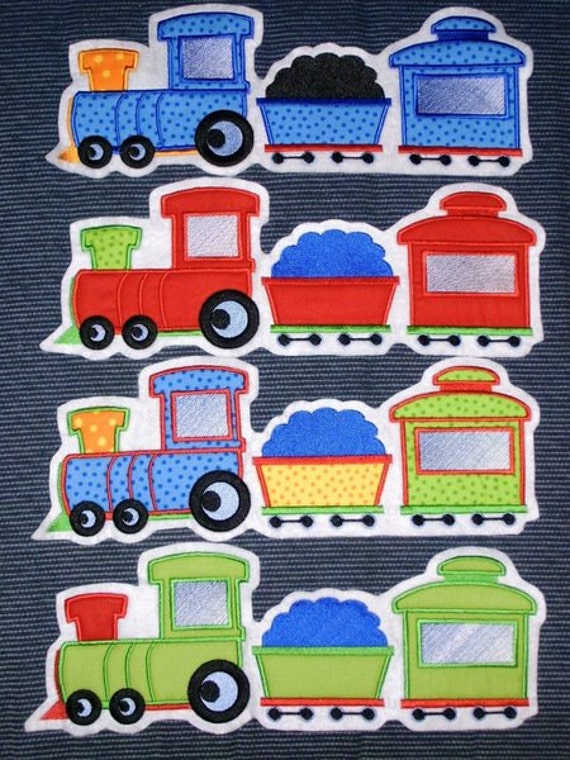 Train - machine embroidery applique designs, INSTANT DOWNLOAD - multiple sizes for hoop 4x4, 5x7 and 6x10