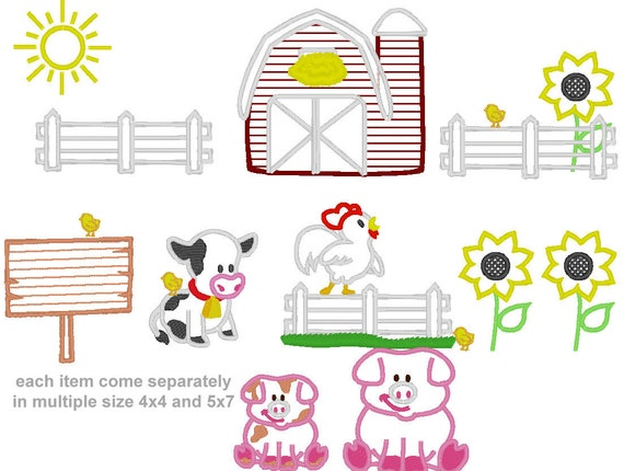 Cute animal Farm - machine embroidery applique designs BIG set INSTANT DOWNLOAD multiple sizes 2, 3, 4, 5, 6 inches, for hoop 4x4, 5x7, 6x10