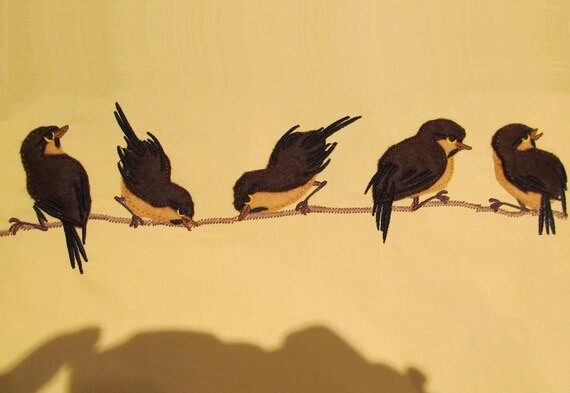 Sparrows set - single files - machine embroidery applique designs  INSTANT DOWNLOAD  4x4 and 5x7